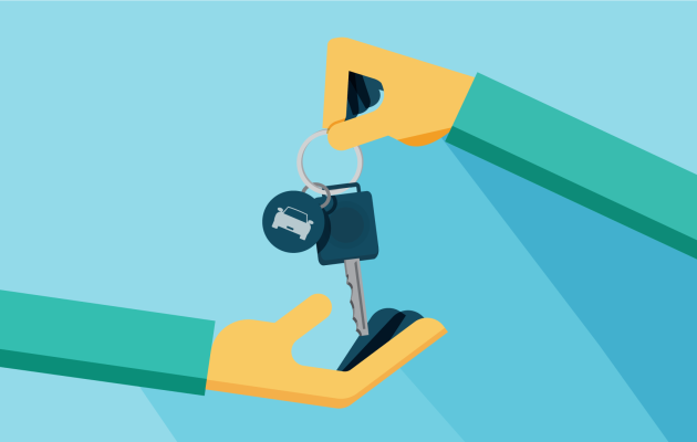 An illustration of a hand holding keys.