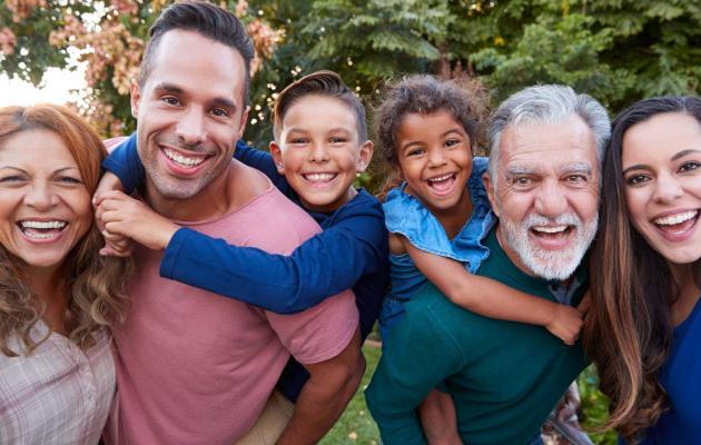 A photo of a joyful Hispanic family