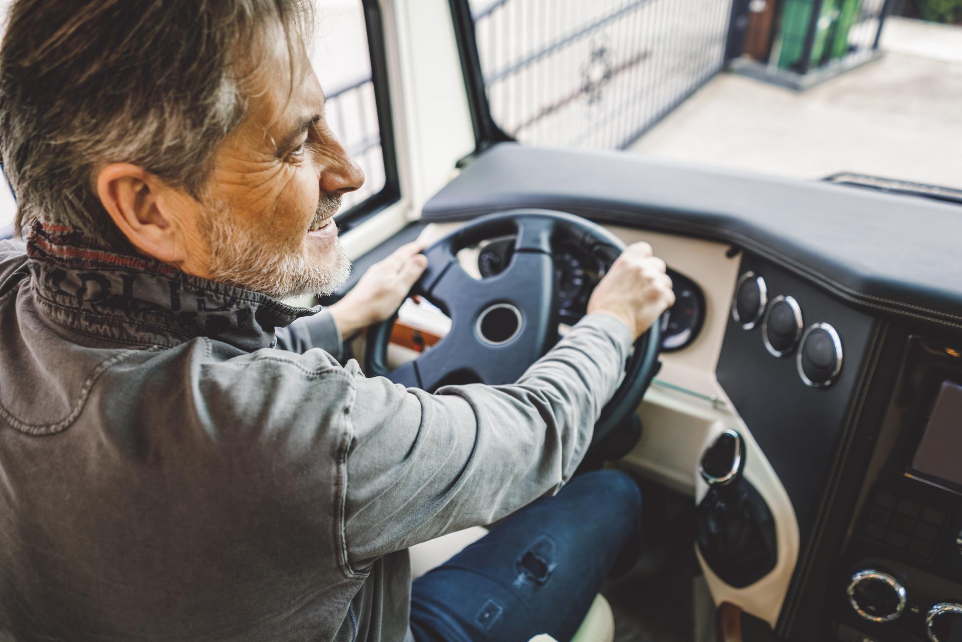 Man driving a RV