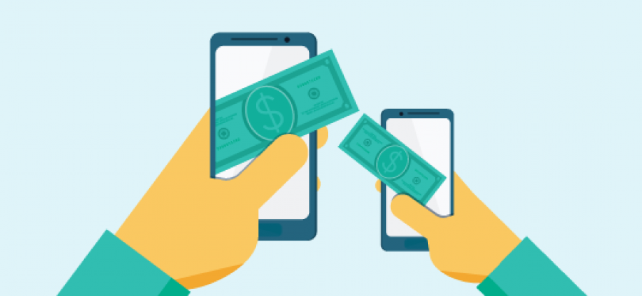 An illustration of a smartphone transferring money to another phone.
