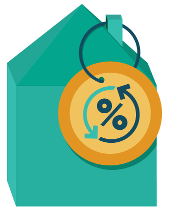 House with percentage sign