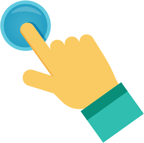 hand with index finger clicking on button icon